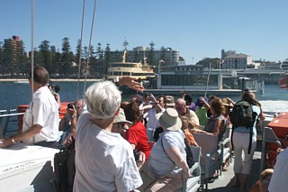 View from the upper deck as Blue Fin departs Manly on 31st December
