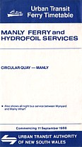 Manly Ferry and Hydrofoil September 1988 Timetable