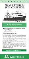 Manly Ferry and Jetcat May 1992 Timetable